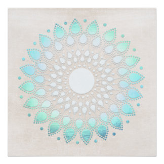 Poster Art de mandala de Lotus bleu de turquoise