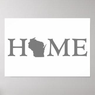 Poster Art de mot de l'État d'origine du Wisconsin