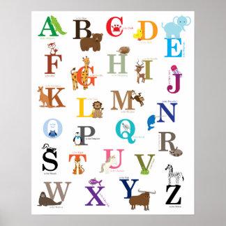 Poster Art de mur de crèche d'alphabet, dessins originaux