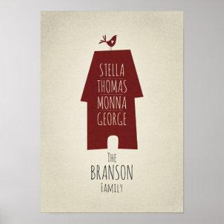 Poster Art de mur personnalisé par noms de famille