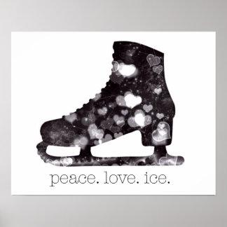 Poster Art de patinage artistique de glace d'amour de