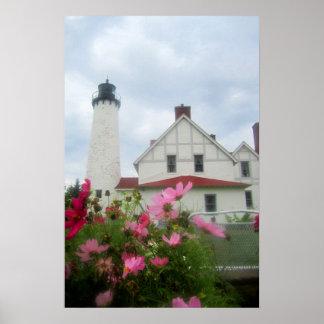 Poster Art de phare du Michigan et d'affiche de fleurs