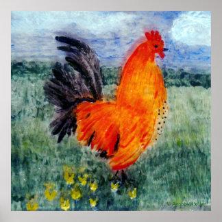 Poster Art de poulet de coq