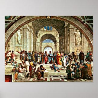 Poster Art de Raphael - école d'Athènes -