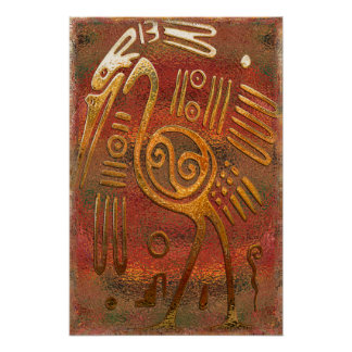 Poster Art de tribal de chrome d'or de Mexicano
