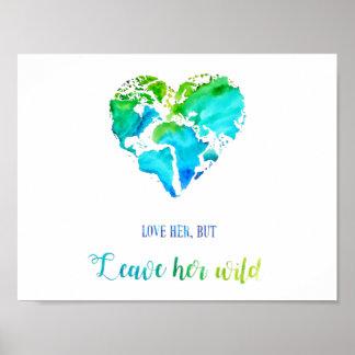 Poster Art de voyage - carte en forme de coeur du monde