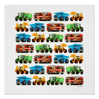 Poster Art défonceur de tracteur de Firetruck de camion