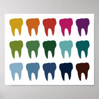 Poster Art dentaire de dent de dentiste coloré d'affiche