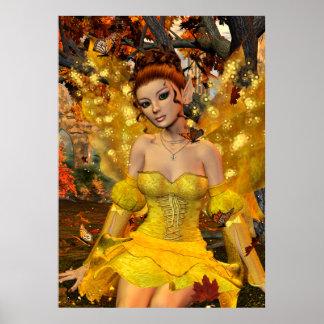 Poster Art d'imaginaire de Fae de la danse de l'automne