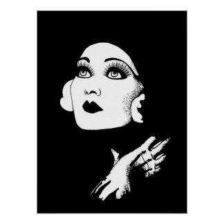 Poster art d'original de fille de charme des années 1930