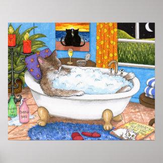 Poster Art drôle de salle de bains du chat 567