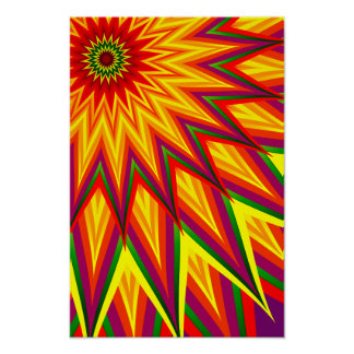 Poster Art floral abstrait coloré de tournesol de
