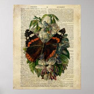Poster Art floral de papillon à la page vintage de