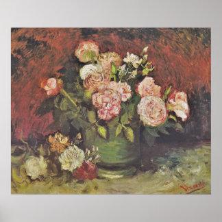 Poster Art floral GalleryHD de pivoines et de roses de