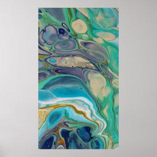 Poster Art liquide de marbre coloré pourpre de bleu de