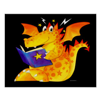Poster Art magique de dragon de bébé d'enfants drôles