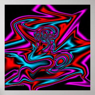 Poster Art moderne d'abrégé sur au néon enfer