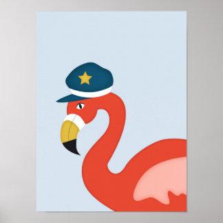 Poster Art nautique de crèche du flamant | de marin