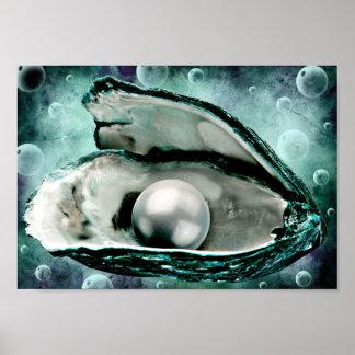 Poster art nautique de globes de bulle de perle de