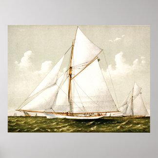 Poster Art nautique vintage magnifique des bateaux à