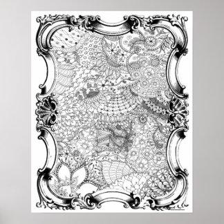 Poster Art Nouveau - coloration adulte du jardin de la