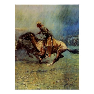 "Poster Art occidental de Frederic Remington ""la ruée"""
