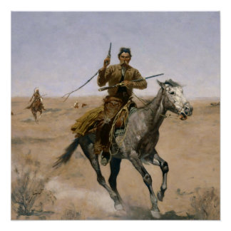 "Poster Art occidental de Frederic Remington ""le vol"""