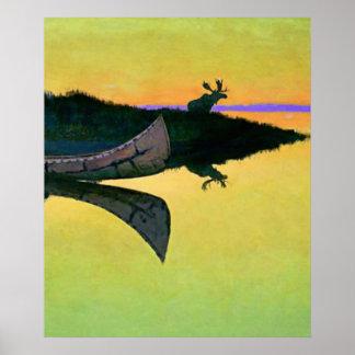 """Poster Art occidental de Frederic Remington """"venant à"""