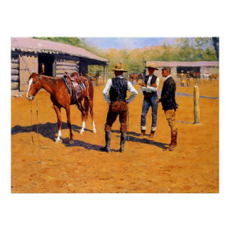 "Poster Art occidental ""poneys de achat"" de Frederic"