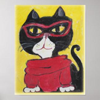 Poster Art populaire de chat de col roulé de hippie