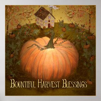 Poster Art populaire de primitif de Harvets Halloween
