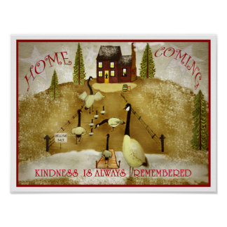 Poster Art populaire venant à la maison d'oies de maison