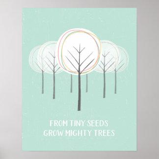 Poster Art puissant de mur d'arbres