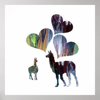 Poster Art romantique de lama