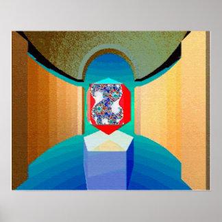 Poster Art surréaliste de fractale de TEMPLE de CHAOS ET