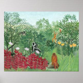 Poster Art tropical reconstitué de jungle de Henri