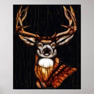 Poster Art unique de cerfs communs de cabine rustique en