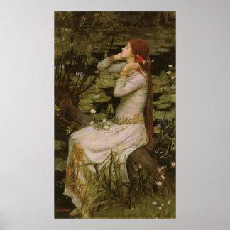 Poster Art victorien, Ophélie par l'étang par le château