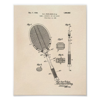 Poster Art vieux Peper de brevet de la raquette de tennis