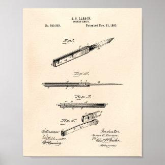 Poster Art vieux Peper de brevet du couteau de poche 1893