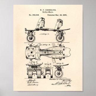 Poster Art vieux Peper de brevet du patin de rouleau 1879