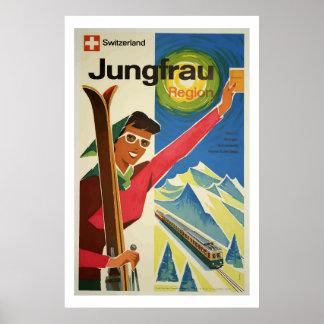 Poster Art vintage d'affiche de voyage de Jungfrau Suisse