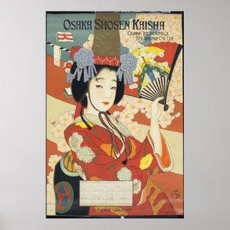 Poster Art vintage d'affiche de voyage d'Osaka Shosen
