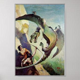 Poster Art vintage de couverture de dragon par J. Allen