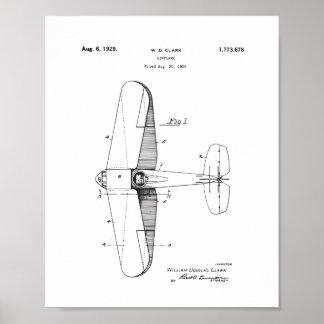 Poster Art vintage de mur de brevet d'avion, affiche