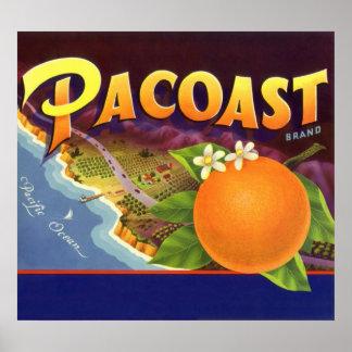 Poster Art vintage d'étiquette de caisse de fruit,