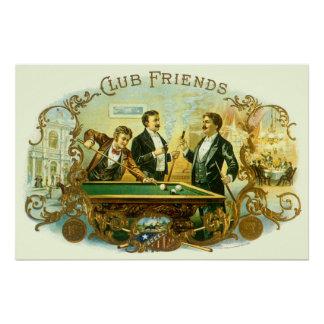 Poster Art vintage d'étiquette de cigare, billards d'amis