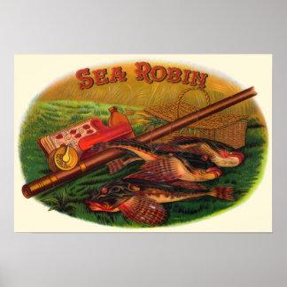 Poster Art vintage d'étiquette de cigare d'attirails de