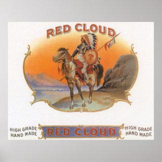 Poster Art vintage d'étiquette de cigare, Indien rouge de