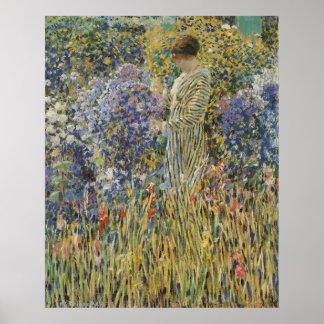 Poster Art vintage, Madame dans le jardin par Frederick